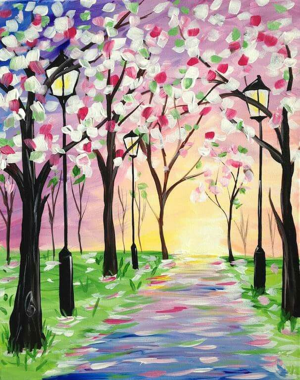 Spring Stroll,Painting with a TwistAsheville, NC Easy