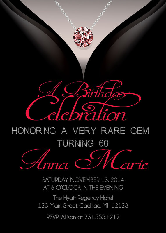 60th Birthday Invitations Adult Birthday Invitation Elegant