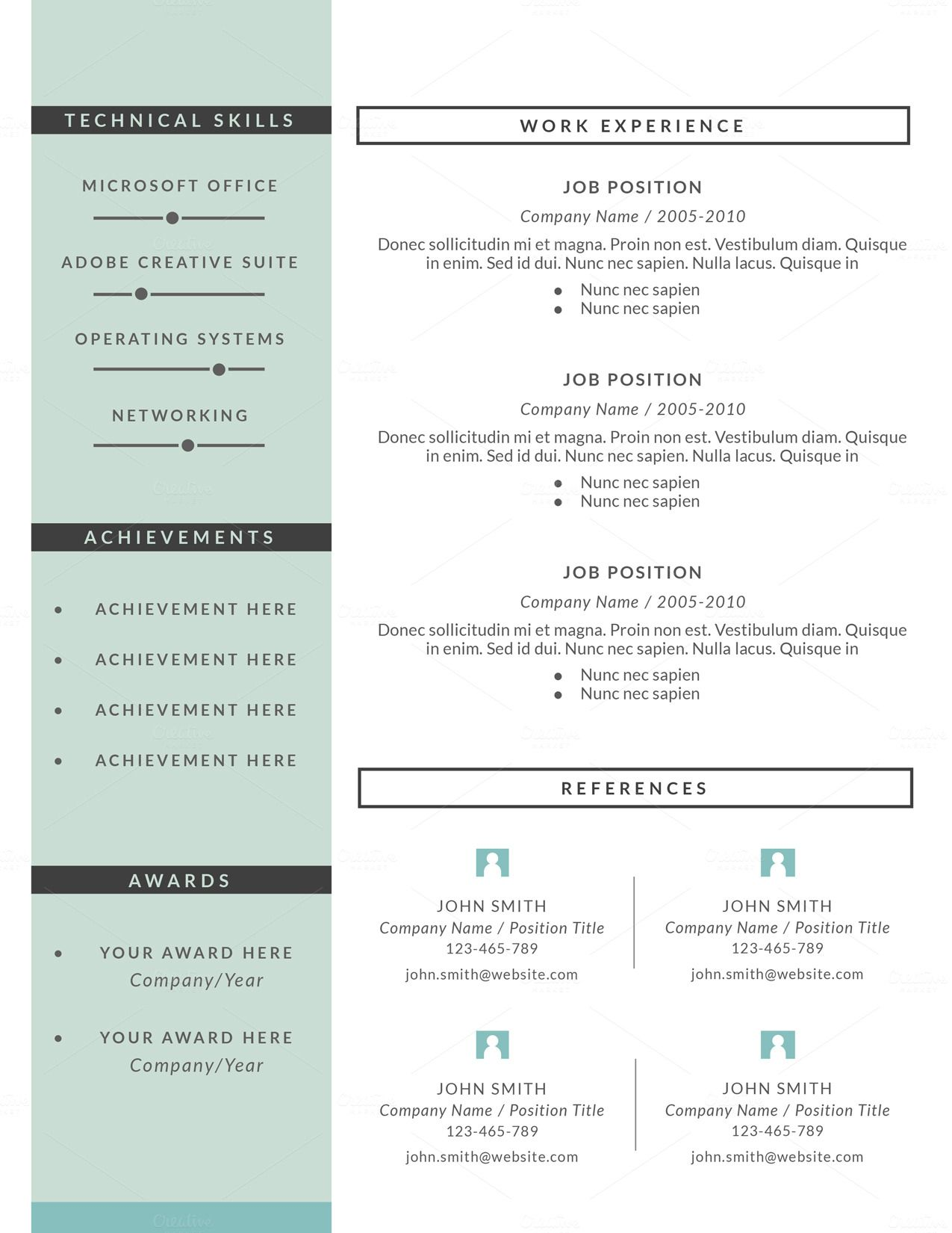 resume template 3 pages  cv template by this paper fox on