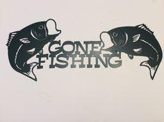 Plasma Cut Gone Fishing Metal Wall Art   Bass, Fish, Office Art, Garage