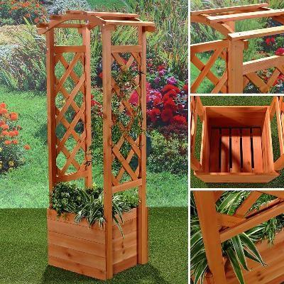 Jardiniere Avec Arche En Bois Ciel Et Terre Arche Jardin Arche Bois Decoration Exterieur