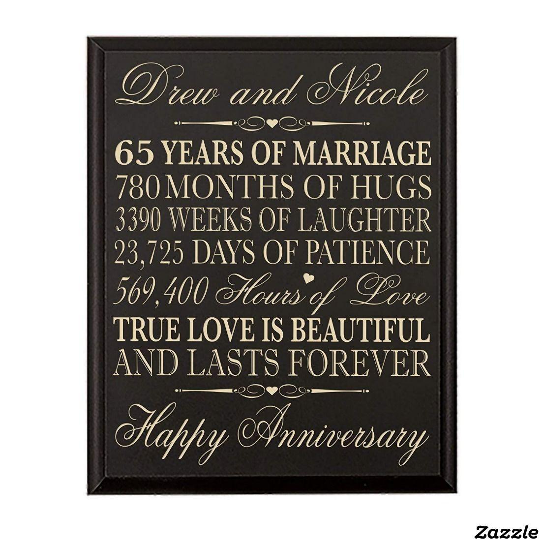 True Love 65th Anniversary Black Wooden Plaque Zazzle Com In 2021 45th Wedding Anniversary Gifts 60th Anniversary Gifts Anniversary Gifts For Parents