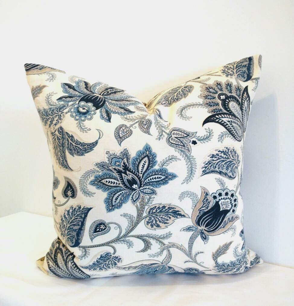 Floral pillow blue floral pillow cover richloom blue pillow