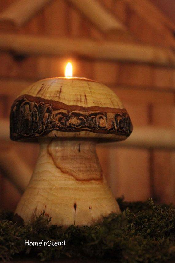 Mushroom Candle Rustic Holiday Table Decor Tea Light