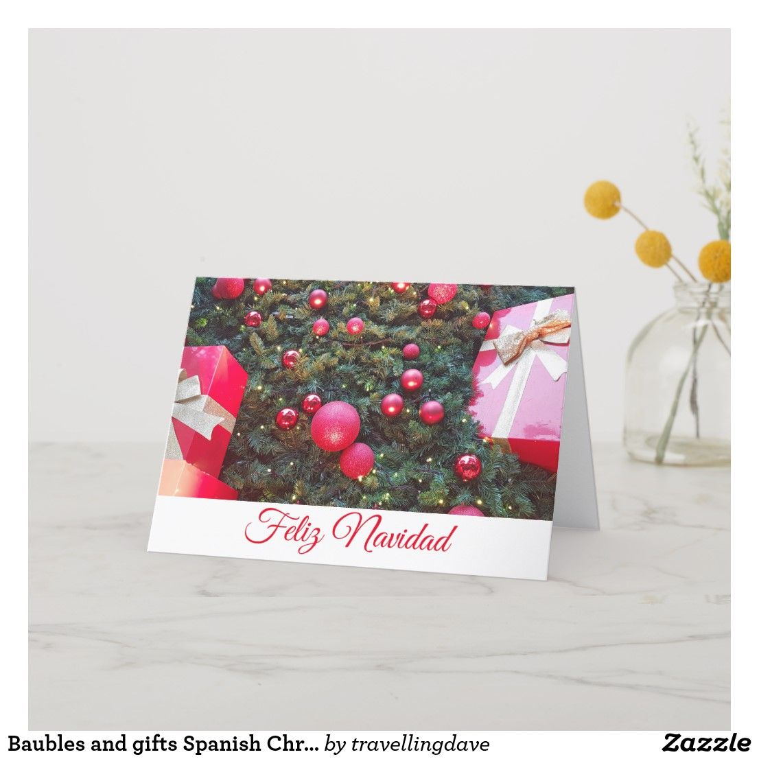 Baubles and gifts spanish christmas card zazzlecouk