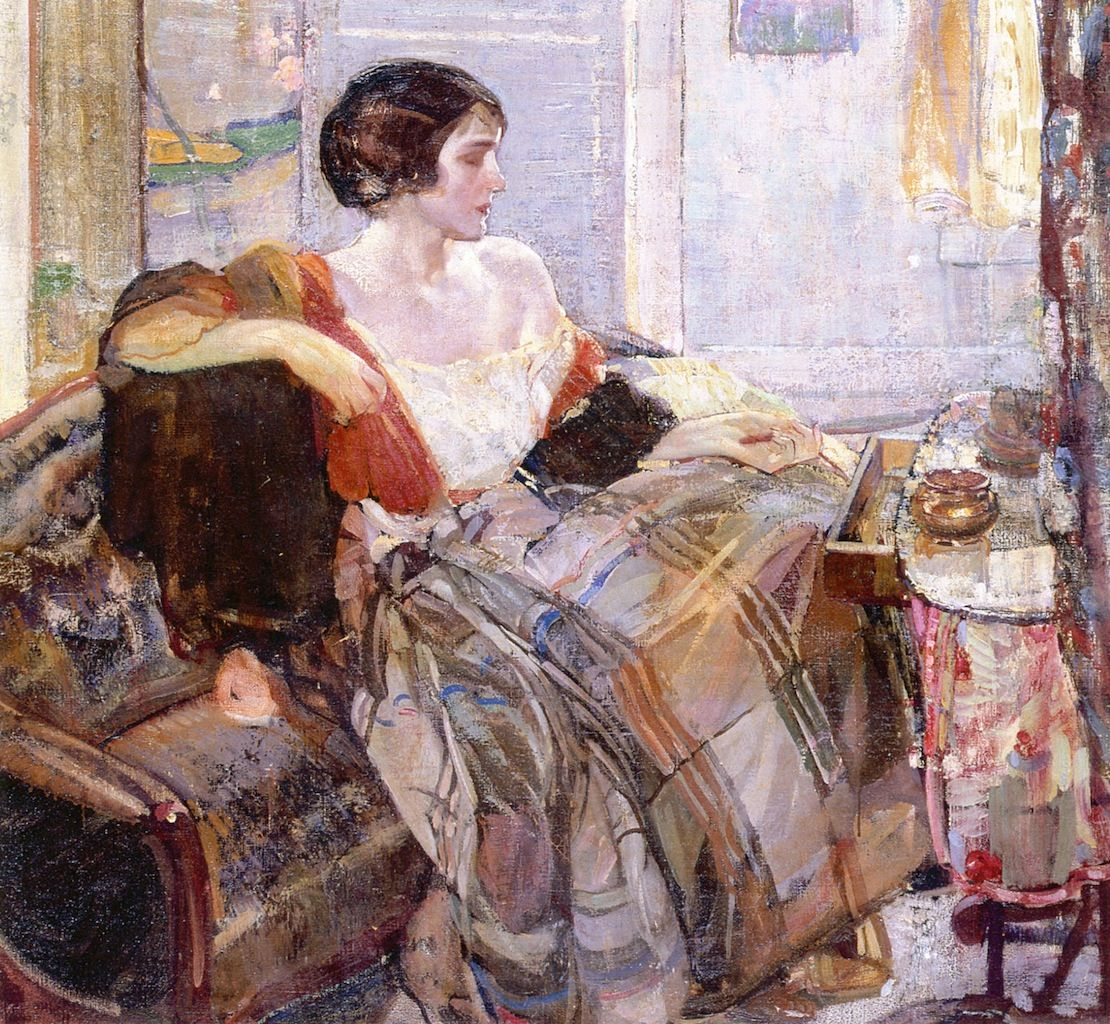The Athenaeum - Woman Seated at Dressing Table (Richard Edward Miller - circa No dates listed)