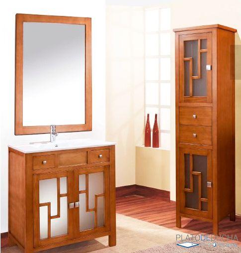 Mueble de ba o r stico lucia con lavabo de cer mica y peque os detalles originales en los - Muebles bano originales ...