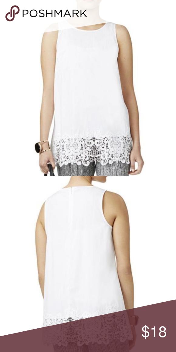 5365a3ad40bc2a Alfani White Lace Trim Sleeveless Blouse Top 8 NWT Alfani Womens White Lace  Hem Hidden Back