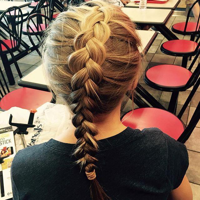 barefoot.mermaid When Macy lets you do her hair  #dutchbraid #blonde #thinhair #justlovely