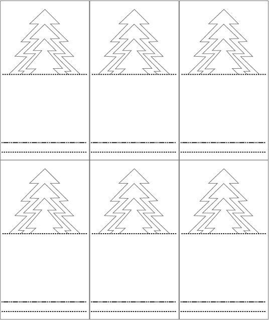 Gabarit de 6 portes noms sapin pour activit kirigami for Porte nom a imprimer gratuitement