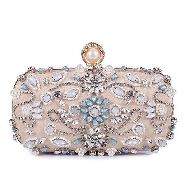 c4f353c4dcf Chichitop Women Folral Pearl Beaded Rhinestone Evening Clutches Wedding  Party Handbag  Handbags  Amazon.com