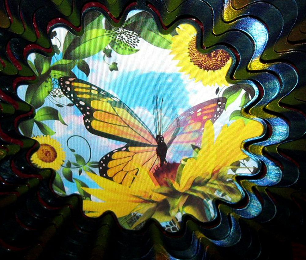 Butterfly and Sunflower Yard Art Outdoor Indoor Iron Stop Wind Spinner  Animated #IronStop http://stores.ebay.com/myeclecticmercantile/Other-/_i.html?_fsub=1&_dmd=1&_nkw=iron
