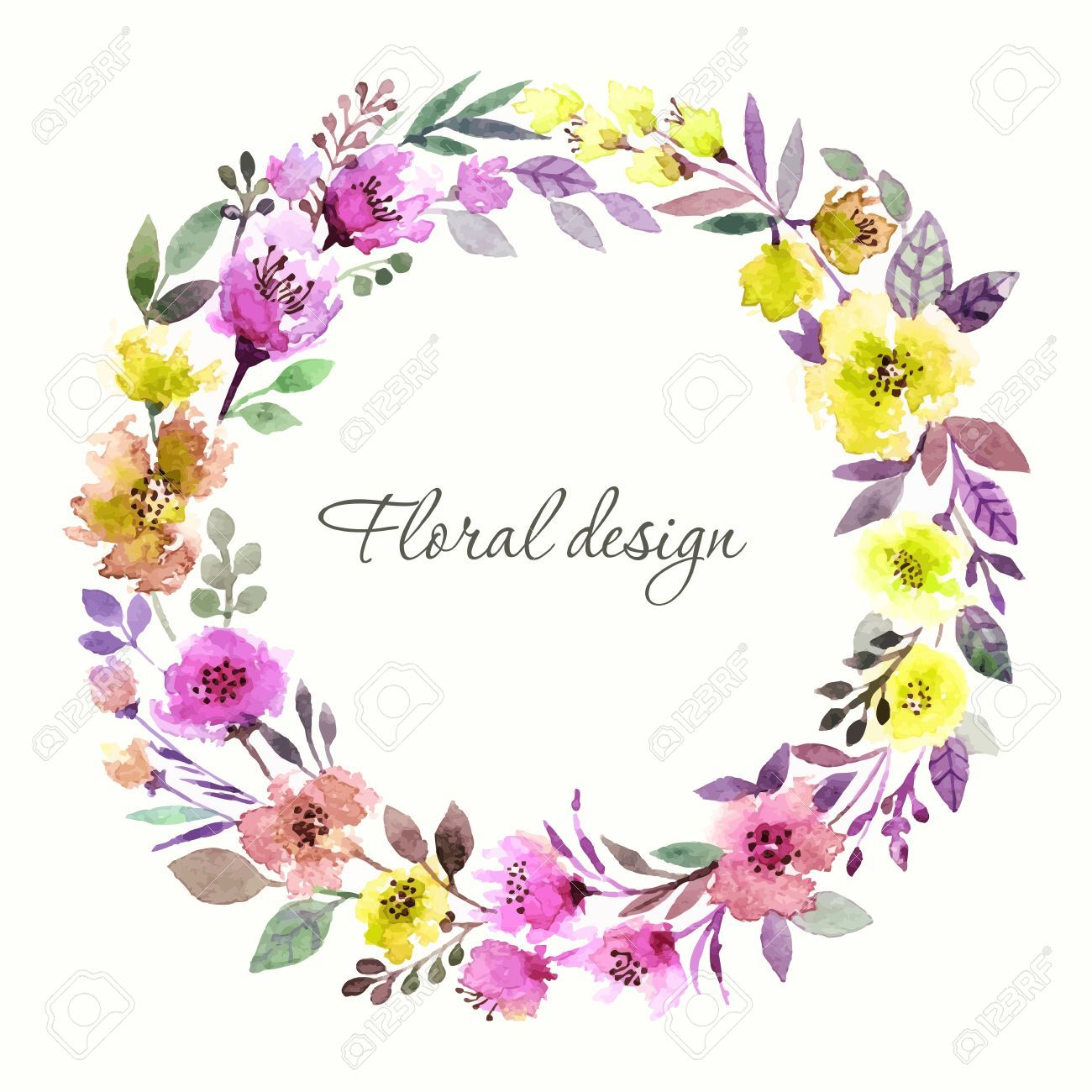 Couronne de fleurs invitation mariage ou carte d 39 anniversaire floral frame fond d 39 aquarelle - Couronne fleurs mariee ...