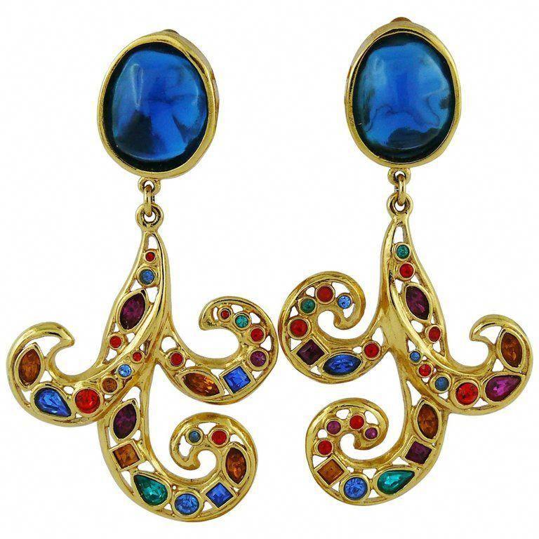 fac89ea2b89 Yves Saint Laurent YSL Vintage Jewelled Dangling Earrings 1 #dangleearrings