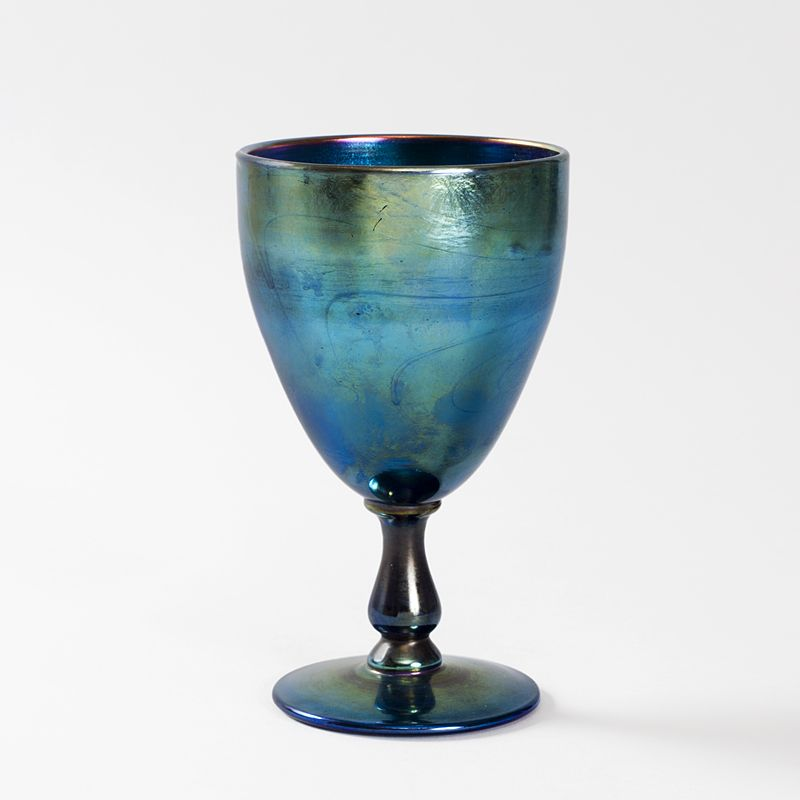 Blue Favrile Glass Vase by Louis Comfort Tiffany A Tiffany Studios New York iridescent blue Favrile glass goblet by Louis Comfort Tiffany. Circa 1900