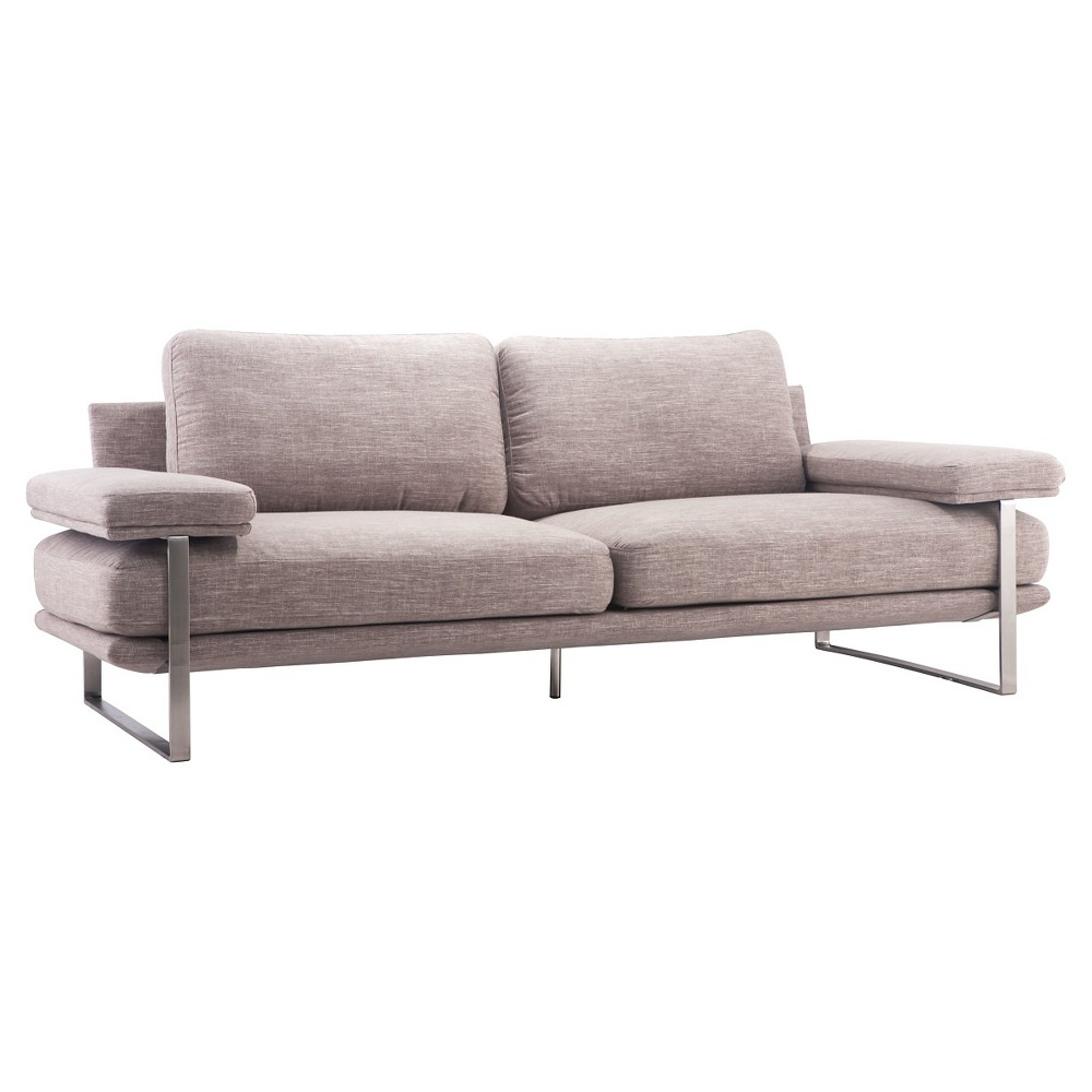Mid-Century Modern Upholstered and Brushed Stainless Steel 86 Sofa - Wheat - ZM Home