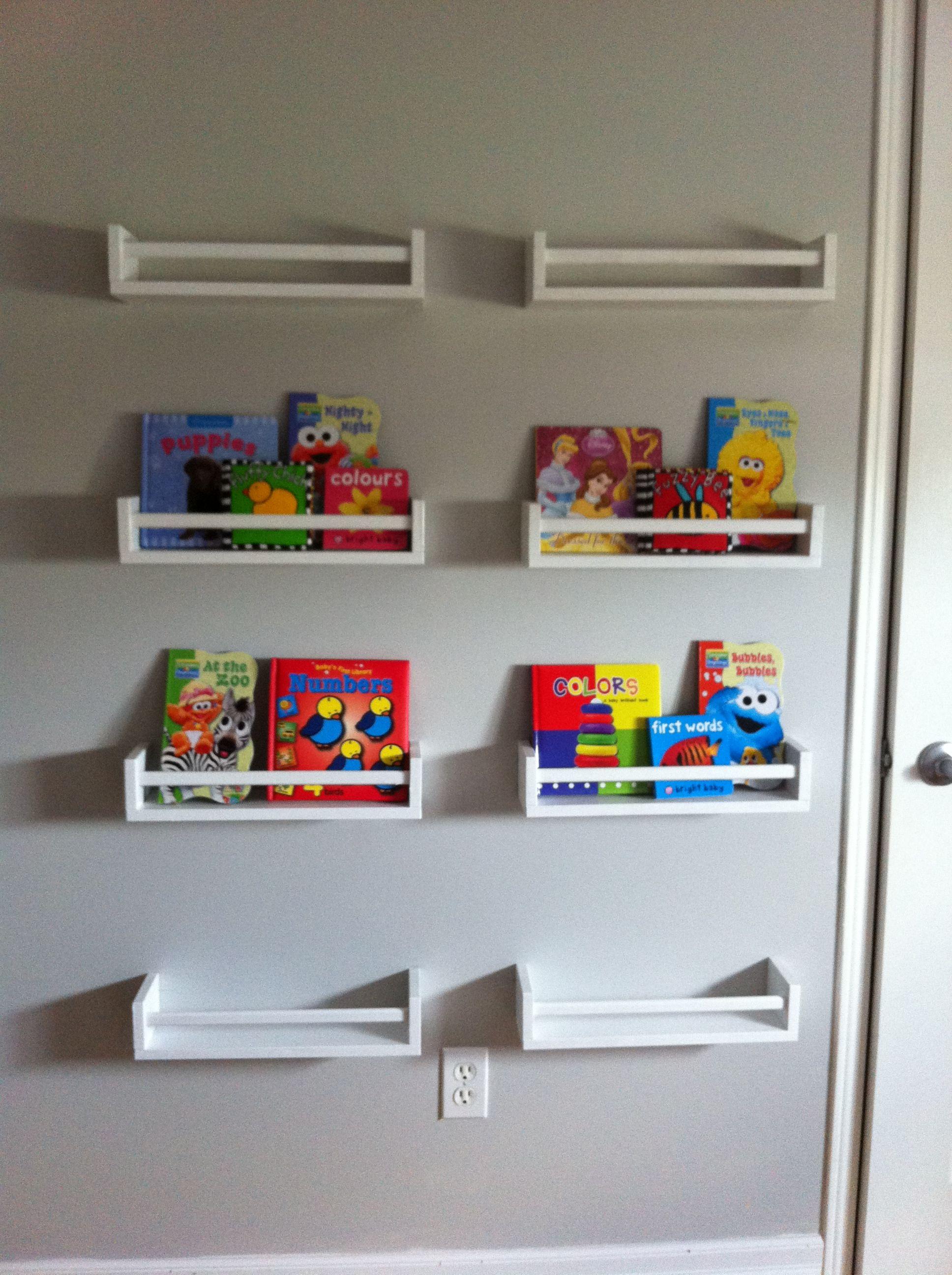 Wall Mounted Bookshelves Using Bekvam Spice Racks Painted White Ive Seen