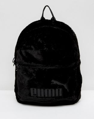 Puma Faux Fur Backpack In Black at asos.com 17dc39037464e