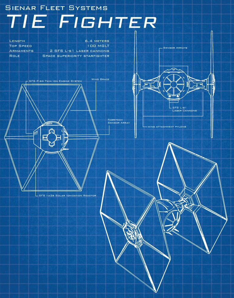 TIE Fighter Schematic | By: Patrick King aka outsiderzero (via deviantART) | #starwars #starwarsfanart #starwarsvehicle #tiefighter