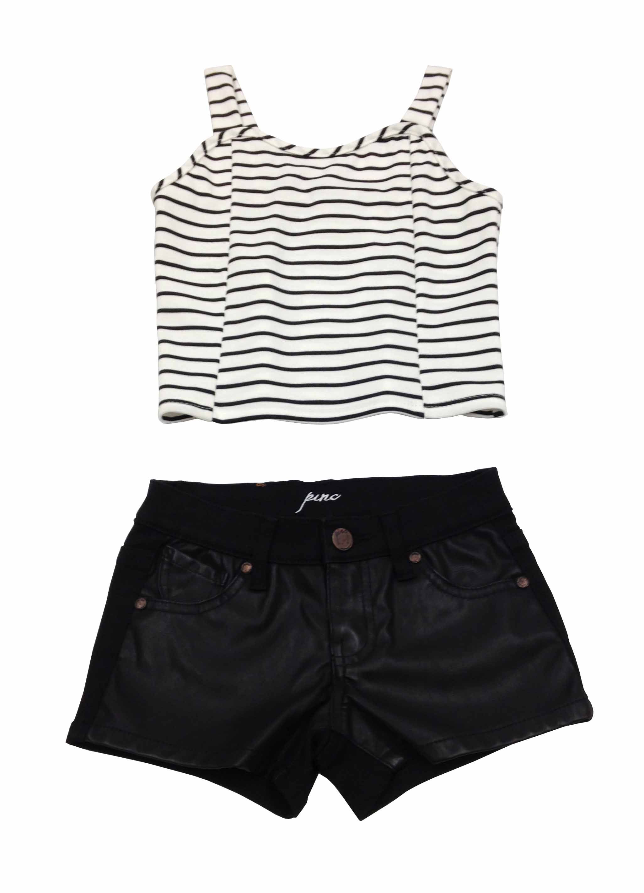 Pinc Premium Outfit of the Day - Black Pleather front Denim Short matched with a Black/White Striped Crop Top