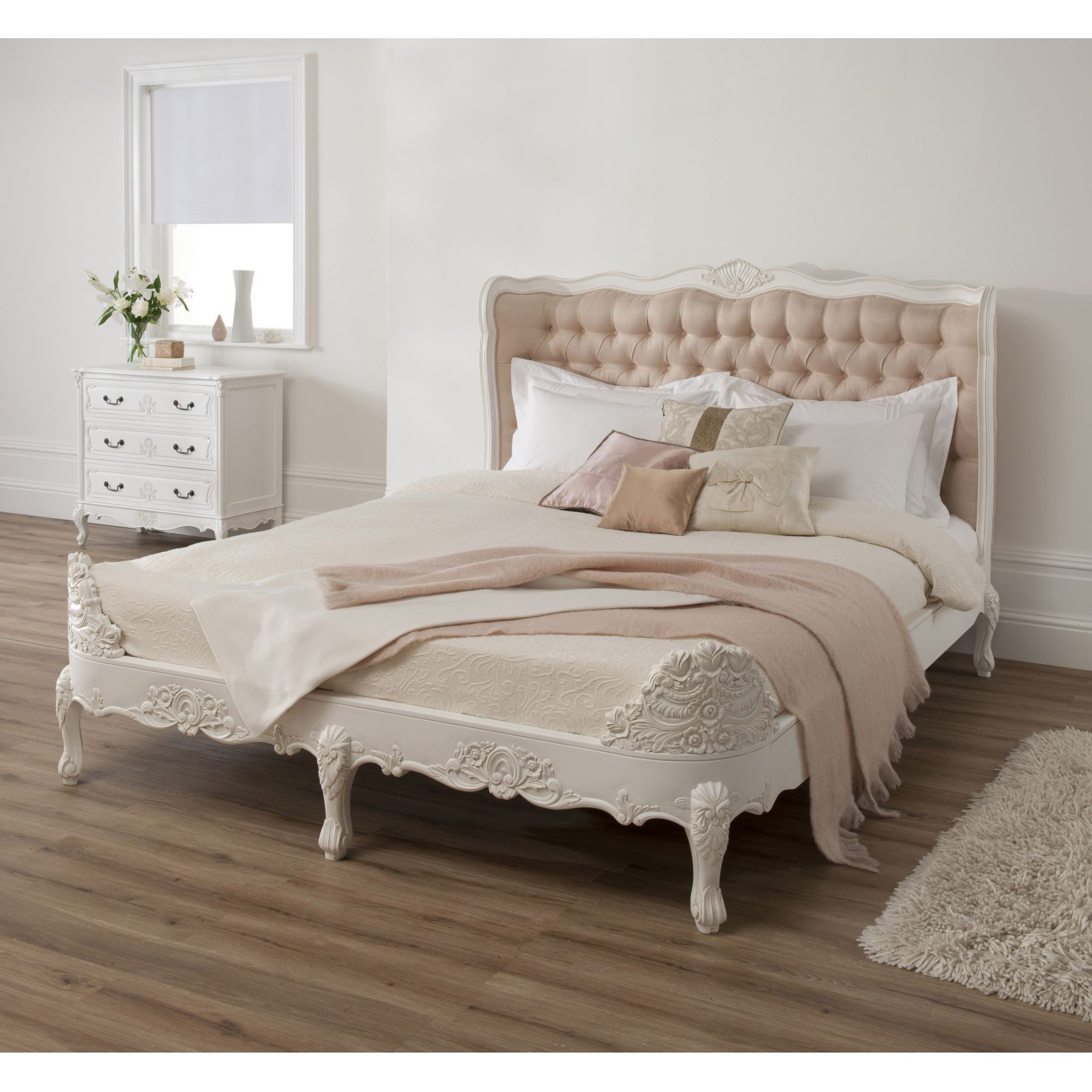 baroque upholstered antique french style bed antique french ornate white bed size double ref