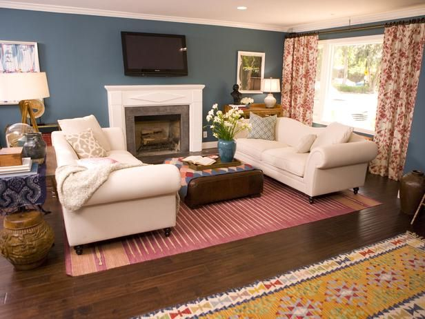 Colorful Bold Before and After Makeovers Blue Living RoomsEclectic Living RoomLiving