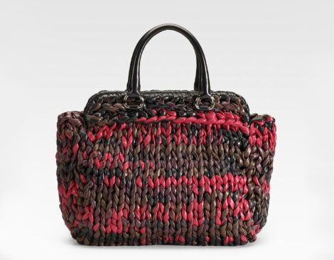 Prada Knitted leather bag large. Let s guess how much they are charging for  it. 376508eb8e