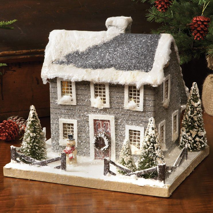 Colonial Saltbox Putty Putz Christmas Gray House Primitive Tablepiece Lighted