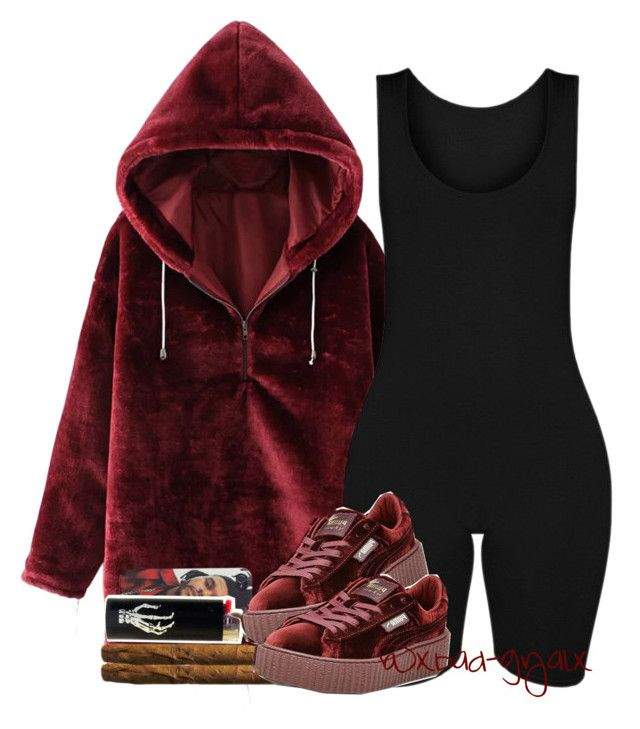 """{All red Lamb' just to tease you, ah}"" by xbad-gyalx ❤ liked on Polyvore featuring WithChic and Puma"
