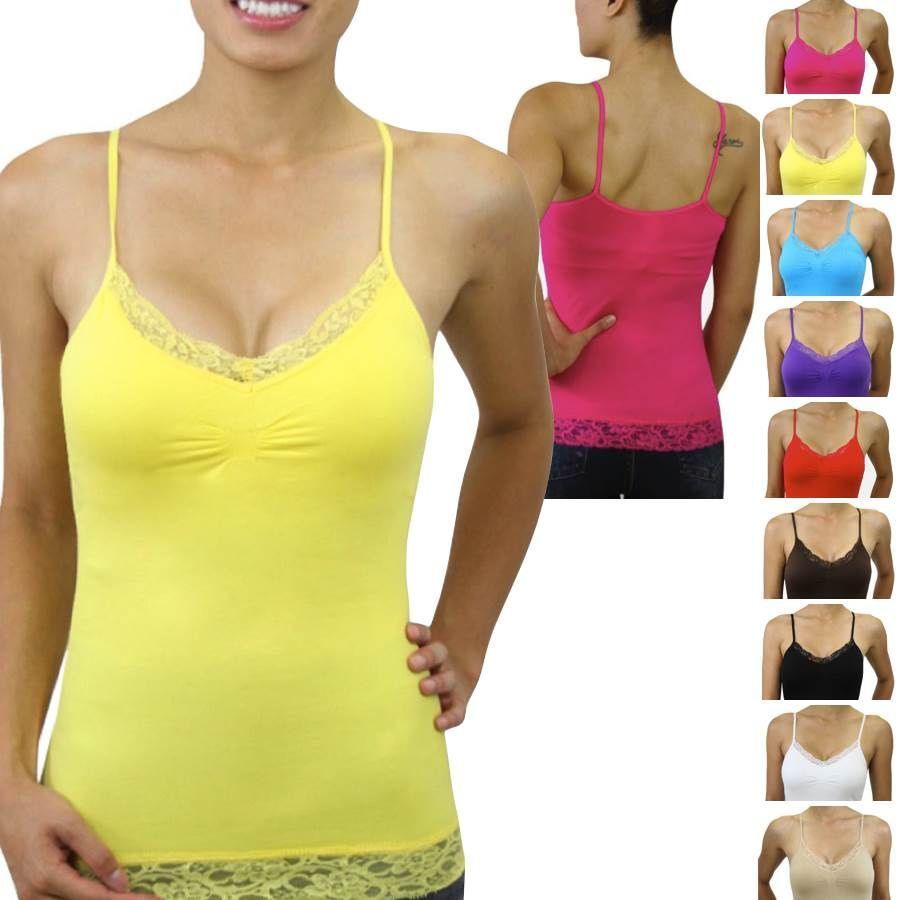 3eedc818e24 LADIES LACE TANKS | Womens-Essential-Sexy-Seamless-Shaping-Lace-Trim ...