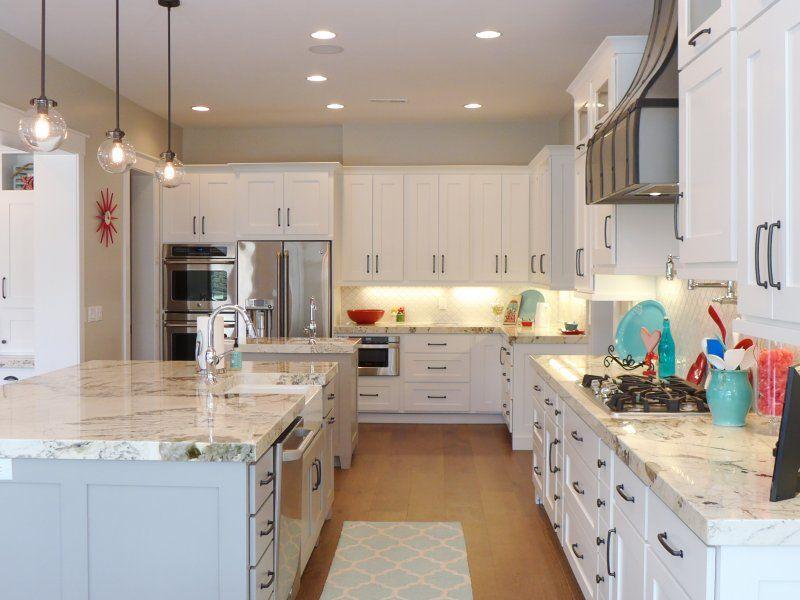 Kitchen Design, Enchanting Kitchen Design With Elegant Light Gray Kitchen  Island Also Alpine White Granite Countertops Also Classic White Kitchen  Cabinets ...