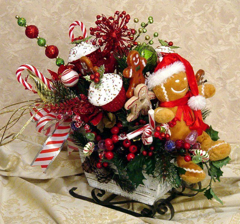 Gingerbread Sleigh Ride Centerpiece Floral Arrangement