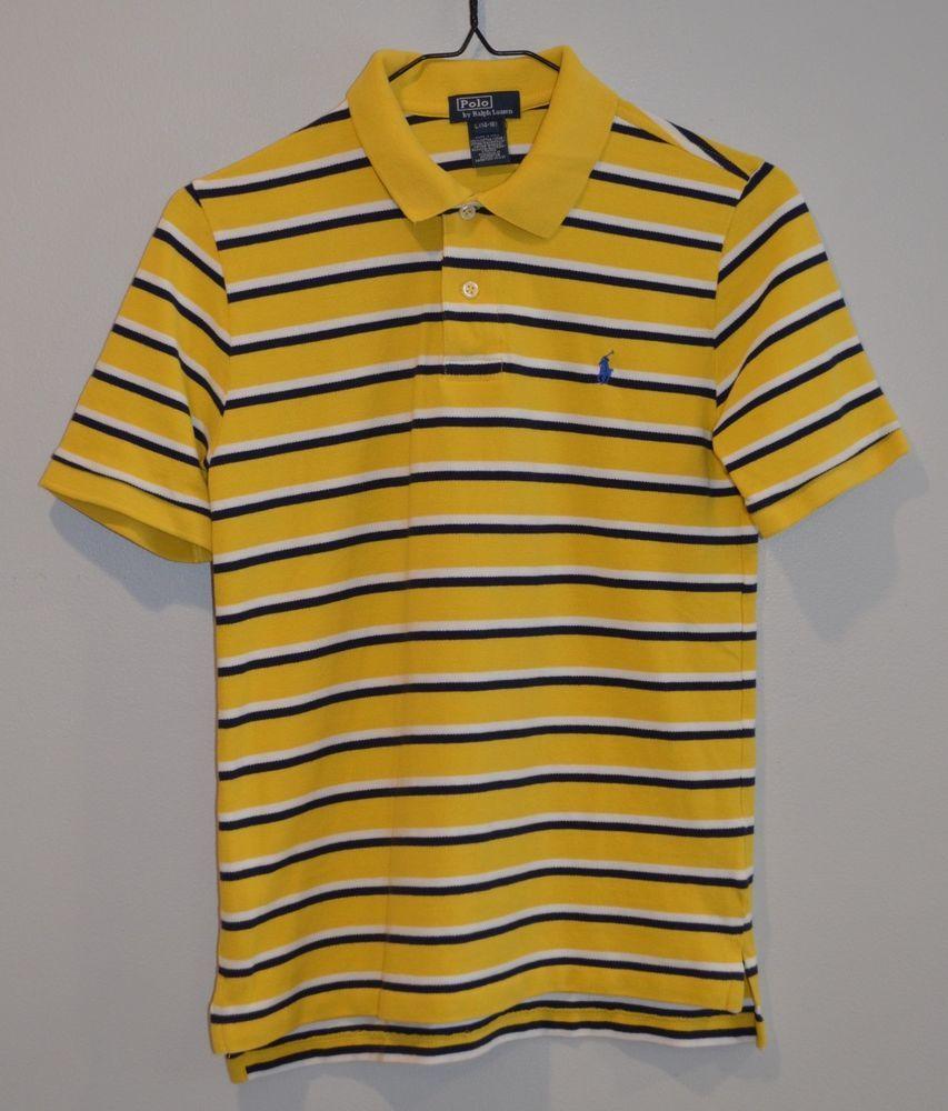 Ralph Lauren Boys Polo Shirt Yellownavywhite Stripe Sz L 14 16