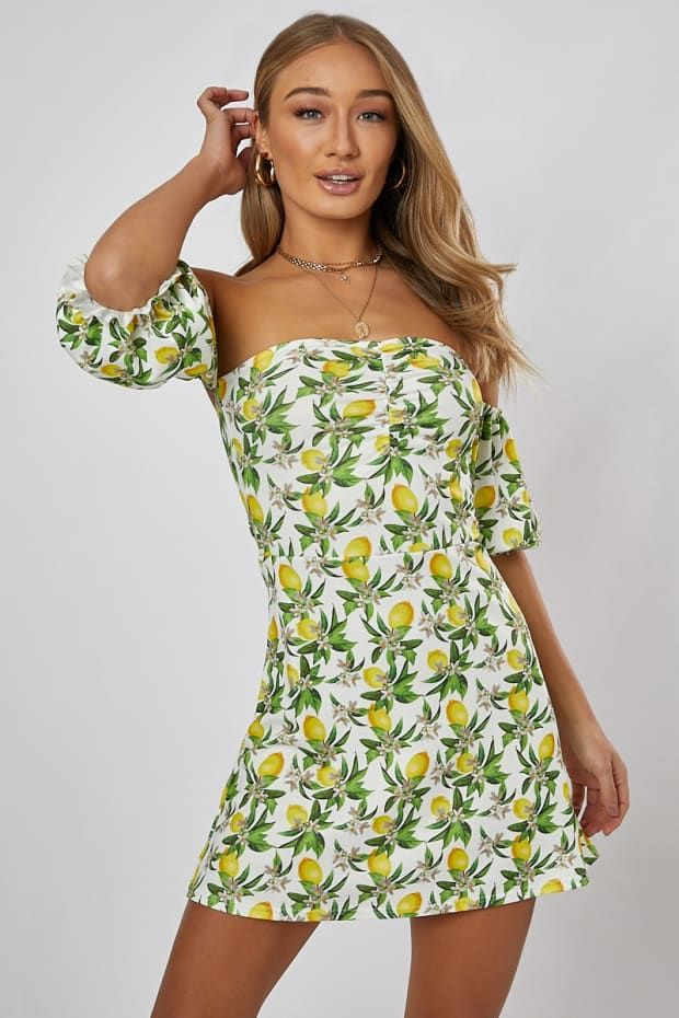 7d32736ad989 Sonja lemon print bardot swing mini dress | Outfits | Lemon print ...