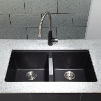 Kraus Undermount Granite Composite 33 In 50 50 Double Basin Kitchen Sink Kit In Black Kgu 434b The Home Depot Black Granite Kitchen Granite Kitchen Sinks Granite Kitchen