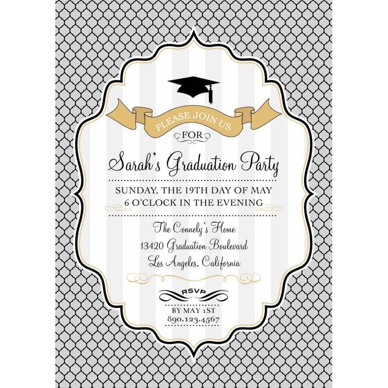 Modern Graduation Printable Invitation - Gold, Silver, Black and - invitation templates for farewell party