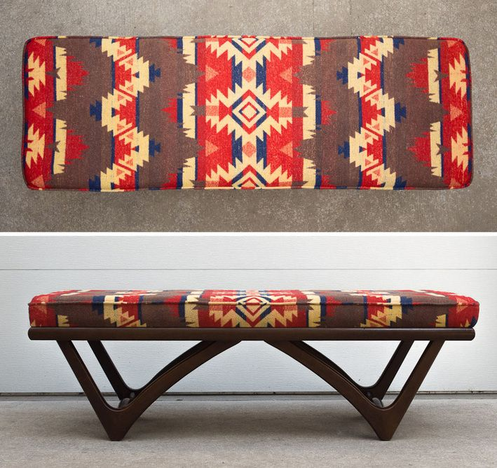Pleasing Mid Century Pendleton Style Blanket Bench Native American Machost Co Dining Chair Design Ideas Machostcouk