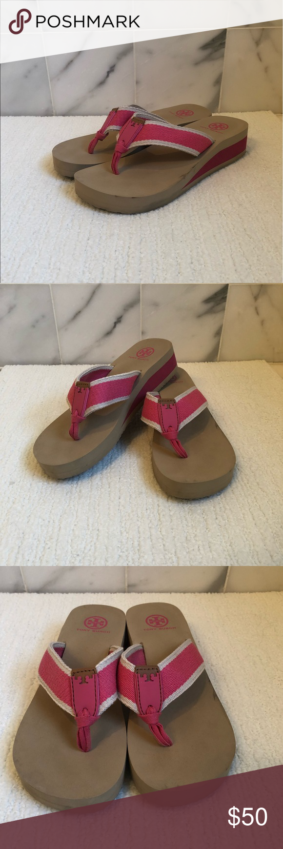 fe82bb1cb Tory Burch Wilhelm Wedge Flip Flops sz 7 Tory Burch canvas and rubber flip  flop sandal -1.5 in striped wedge platform heel -Thong strap with leather  insert ...