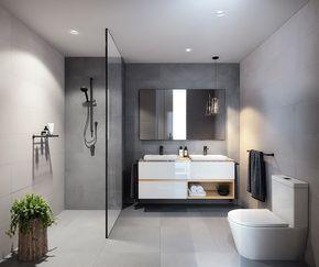 Badezimmer Im Bauhaus Stil. Gradlinig In Betongrau Als Wandfliese Und  Bodenfliese. Begebare Dusche