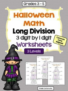 Halloween Math 3 digit by 1 digit Long Division Worksheets ...