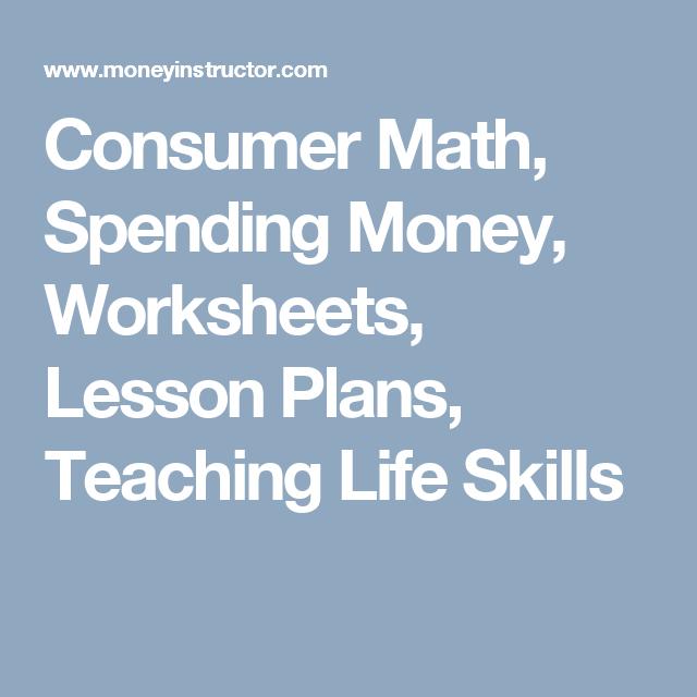 Consumer Math Spending Money Worksheets Lesson Plans Teaching