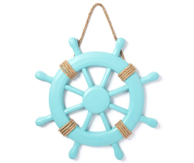 Turquoise Wooden Ship Wheel Wall Decor Ship Wheel Wooden Ship Beach Themed Room