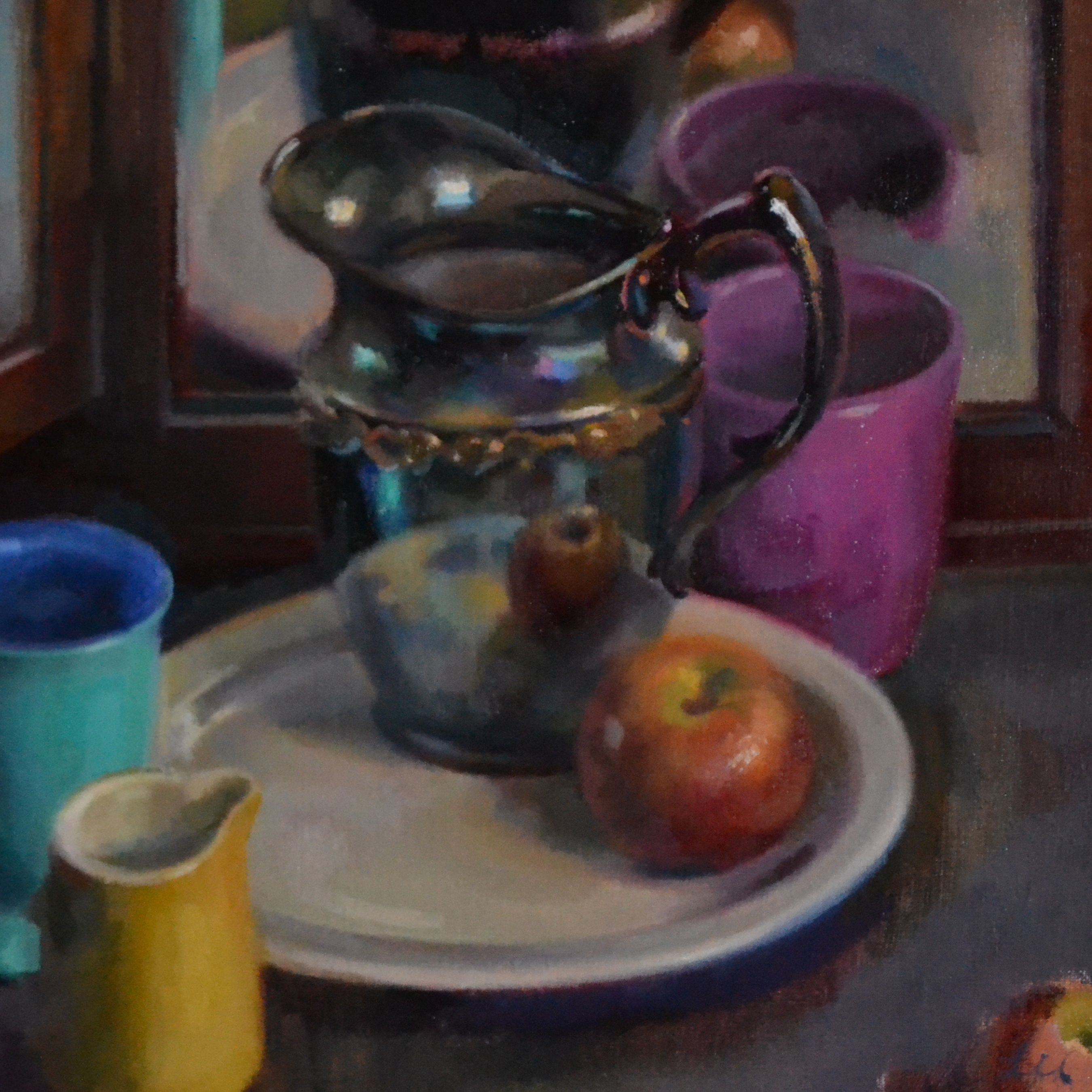 JaFang Lu Tarnished Silver Pitcher on White Plate Oil on Linen 16 x 16 inches