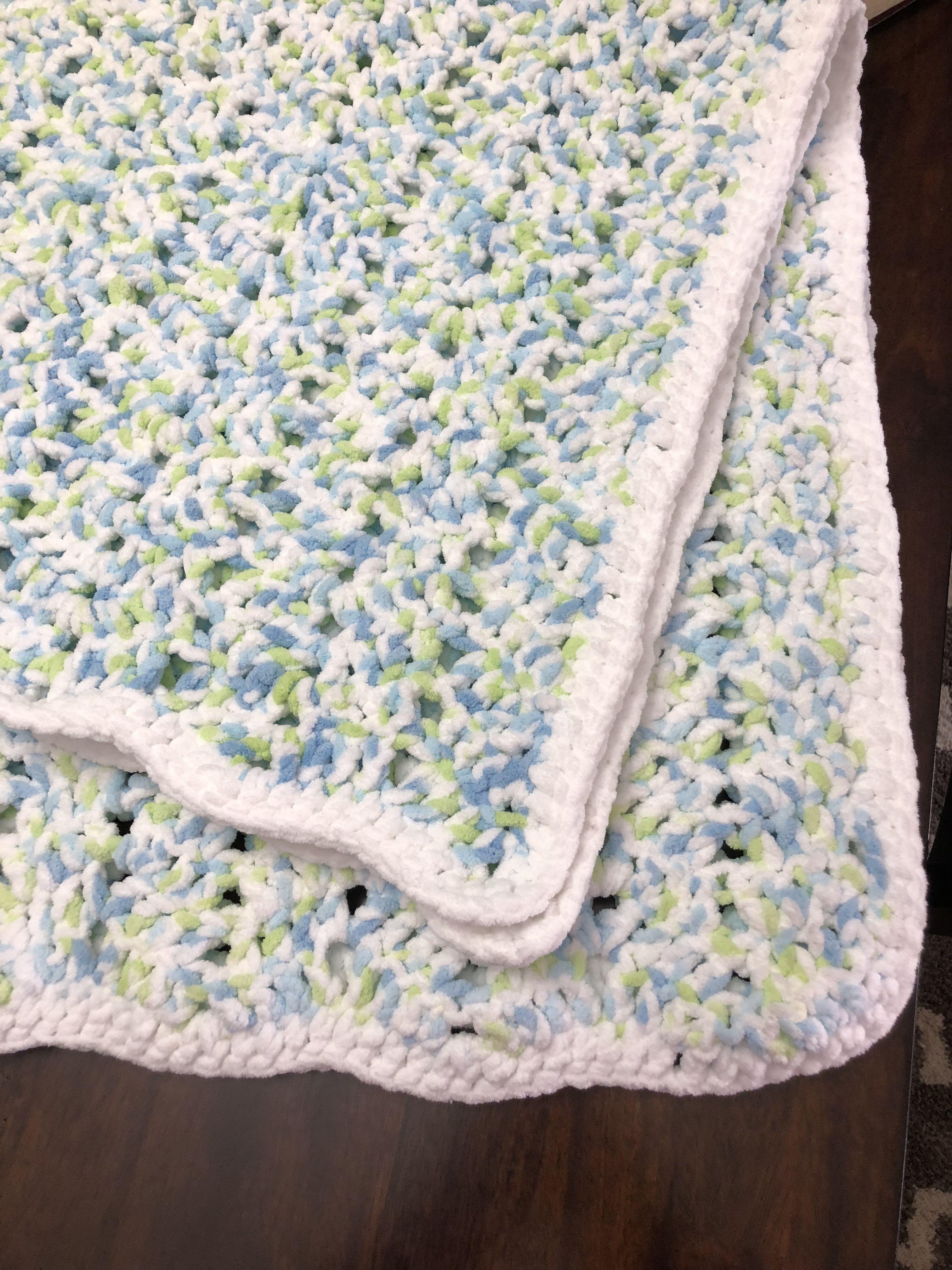 DONE - Bernat Baby Blanket yarn from makeanddocrew com/free-modern