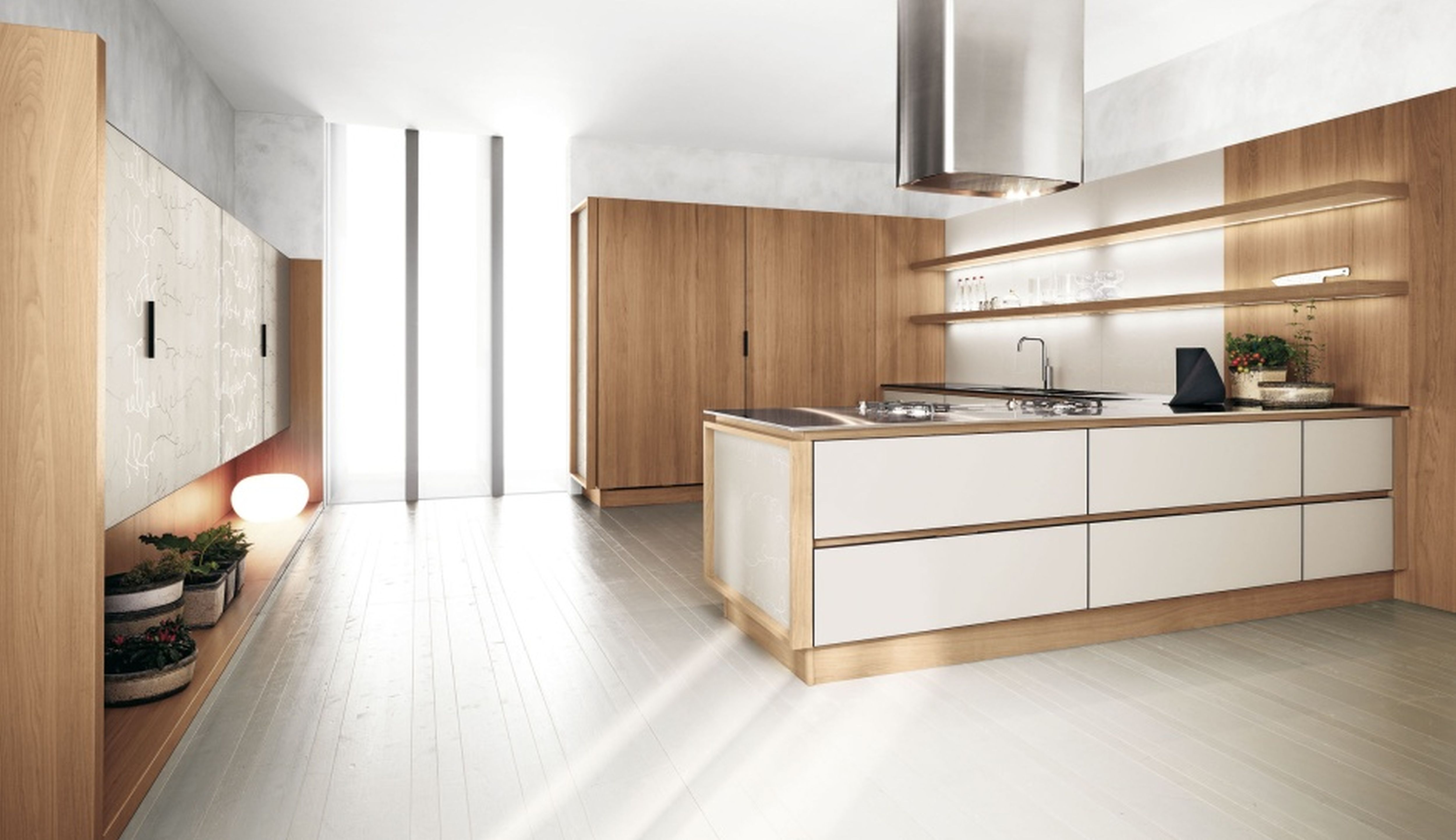 Fabulous White And Walnut Two Tone Kitchen Cabinets Design Inspirations Equipped Appeali White Modern Kitchen Modern Kitchen Design Scandinavian Kitchen Design