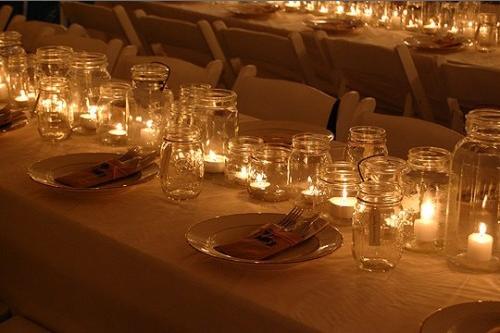 mason jar candle centerpiece i like this idea for my wedding i m rh pinterest com  mason jar floating candle centerpieces
