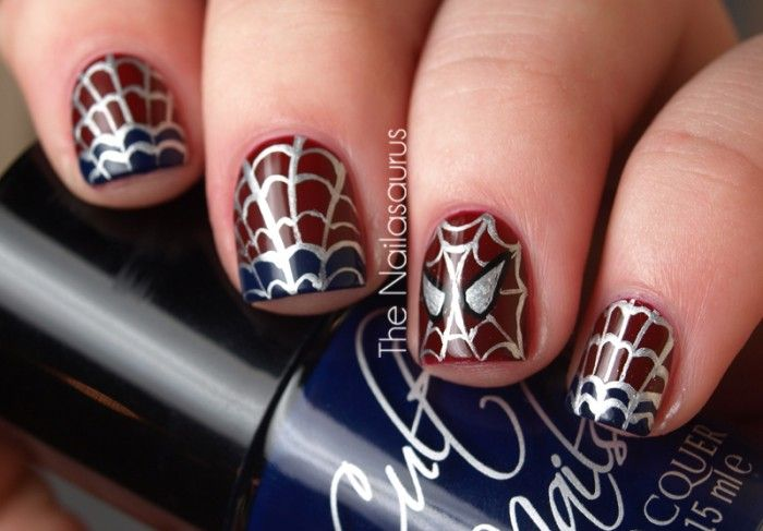Marvel Amazing Spiderman Inspired nail art. Red, blue, & silver ...