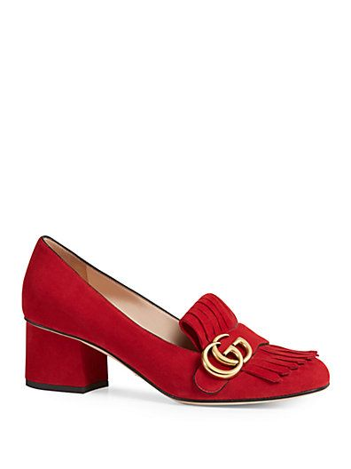 af78f8fe7 GUCCI Marmont Fringe Suede 55Mm Loafer Pump, Red | DESIGNER SHOES ...