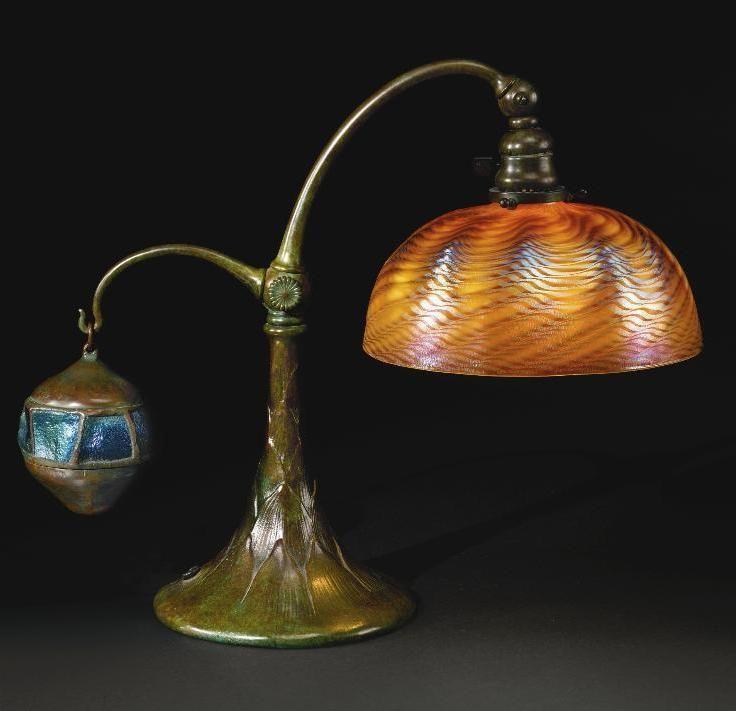 유 Illuminating Lamps 유 Tiffany Studios Bronze Counterbalance