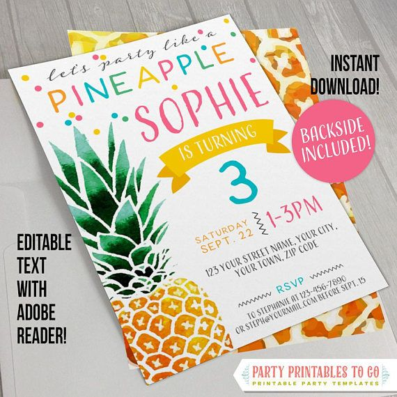 Pineapple Party Invitation with FREE Backside!- INSTANT DOWNLOAD